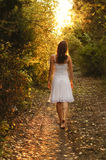 Mysterious path. Young girl with white dress walking onto a mysterious path in the forest Royalty Free Stock Image
