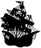 Mysterious pirate ship silhouette Stock Photography