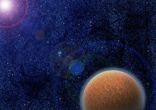 Mysterious planet in lens flare Stock Photos