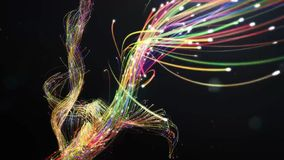 Mysterious plexus of multi-colored luminous threads stock photography