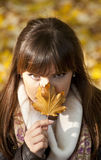 Mysterious portrait of beautiful woman. Hiding behind autumn leaf Stock Image