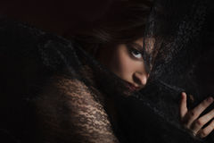 Mysterious portrait of beautiful woman in black lace veil Stock Images