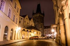 Mysterious Prague with lanterns in at night. Czech Republic Royalty Free Stock Image