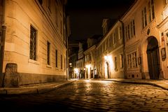 Mysterious Prague with lanterns in at night. Czech Republic Stock Image
