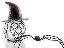 Mysterious pumpkin. An odd pumpkin wearing a purple hat with a spider isolated Royalty Free Stock Photo