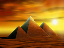 Mysterious pyramids. Some ancient pyramids in a desert at sunset. Digital illustration Stock Photos