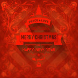 Mysterious red elegant Christmas greeting card. With floral decorations Stock Photography