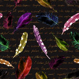 Mysterious repeating pattern - black cats, feathers and old handwritten text. Halloween watercolor Stock Image