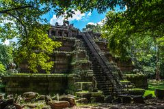 Mysterious ruins of ancient Phimeanakas temple royalty free stock photo