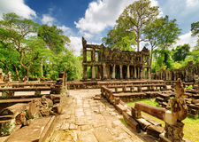 Mysterious ruins of ancient Preah Khan temple, Angkor, Cambodia Royalty Free Stock Images