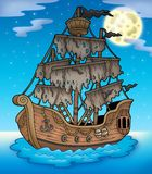Mysterious ship with full Moon Royalty Free Stock Image