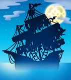 Mysterious ship silhouette at night Stock Photo