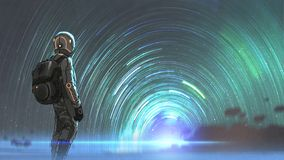 The mysterious starry tunnel entrance. Science fiction scene of the astronaut standing in front of starry tunnel entrance, digital art style, illustration royalty free illustration
