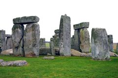 Mysterious Stonehenge in UK. Isolated over white stock photos