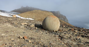 Mysterious stones of Champ Island in Arctic Stock Photo