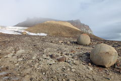 Mysterious stones of Champ Island in Arctic Stock Image
