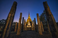 Mysterious stupa at night royalty free stock images