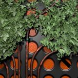 Mysterious surface with holes. 3d illustration: `Decoration:` Mysterious surface with holes and tubes overgrown with ivy Stock Image