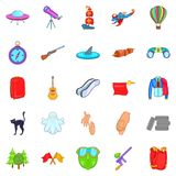 Mysterious things icons set, cartoon style. Mysterious things icons set. Cartoon set of 25 mysterious things icons for web isolated on white background Royalty Free Stock Photos