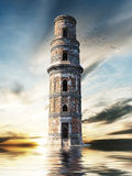 Mysterious tower above the water surface Stock Photography