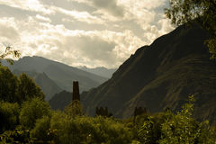 Mysterious towers in a valley, sichuan Royalty Free Stock Photos