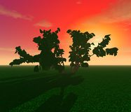 Mysterious trees in the field. 3D illustration: `Decoration:` Mysterious trees in the field on the background of sunset Stock Photo