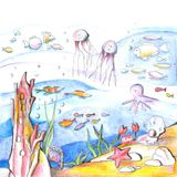 Mysterious undersea world. Drawing with colored pencils for children.  Stock Image