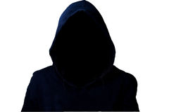 Mysterious, unknown person in the hood. Danger in darkness with clipping path Royalty Free Stock Image
