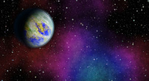 Mysterious, unknown planet in the universe. Life among the stars. Panoramic looking into deep space. Royalty Free Stock Photos