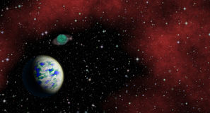 Mysterious, unknown planet in the universe. Life among the stars. Panoramic looking into deep space. Stock Photo