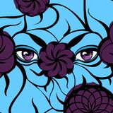 Mysterious Violet Eyes on a Cyan Background. Creative illustration with a mysterious purple eyes, violet flowers, blue leaves. Hand-drawn design for fashion Royalty Free Stock Photo
