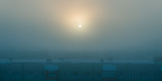 Mysterious winter city Royalty Free Stock Images