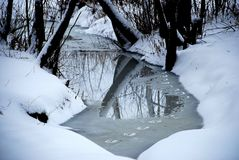Mysterious winter footprints stock images