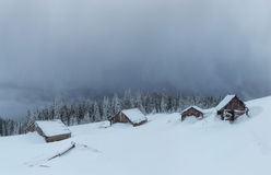 Mysterious winter landscape majestic mountains in . Magica Stock Images