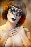 Mysterious woman with artistic style Venetian mask Royalty Free Stock Photo
