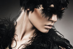 Mysterious woman with black feathers on eyes Royalty Free Stock Photos
