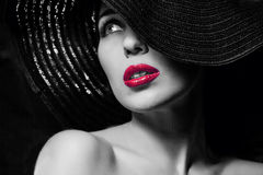 Mysterious woman in black hat. Portrait of mysterious beautiful young woman with wonderful skin texture in black hat. Trendy glamorous fashion makeup. Sensual royalty free stock photography