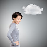 Mysterious woman with cloud Stock Image