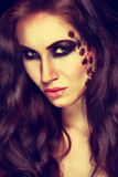 Mysterious woman with extravagant makeup. Royalty Free Stock Image