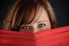 Mysterious woman eyes Stock Images