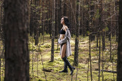 Mysterious woman in the forest Royalty Free Stock Photography