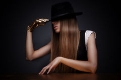 Mysterious woman in hat Royalty Free Stock Image