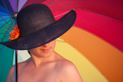 Mysterious woman with hat Stock Photos