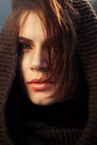The mysterious woman in a hood Royalty Free Stock Image