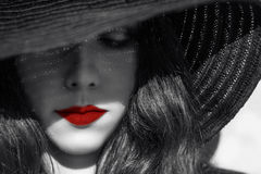 Free Mysterious Woman In Black Hat. Red Lips. Stock Image - 48711251