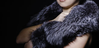 Mysterious woman makeup fur Royalty Free Stock Image