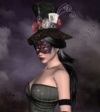 Mysterious woman portrait. Beautiful woman with bizarre hat and mask Royalty Free Stock Image
