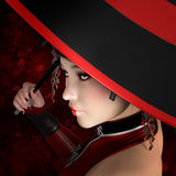 Mysterious woman portrait. Fashion woman with red umbrella Royalty Free Stock Images