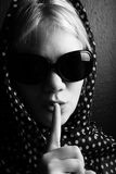 Mysterious woman with shawl Stock Images