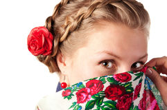 Mysterious woman in the ukrainian style Stock Images